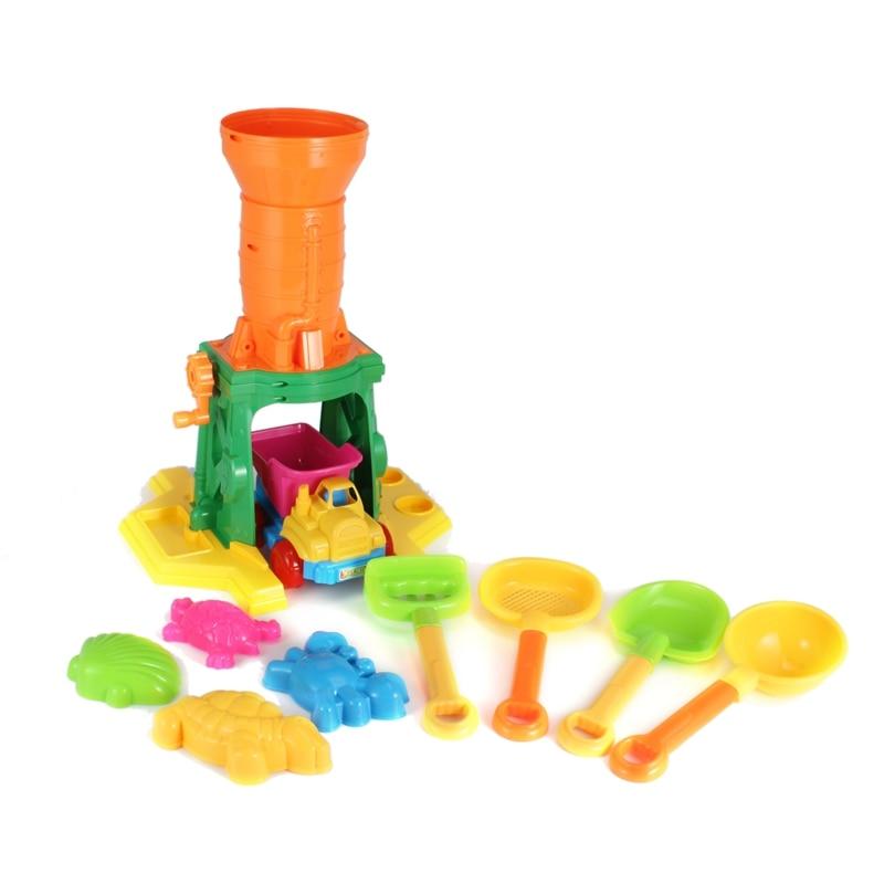 New Plastic 10pcs/set Outdoor Colorful Castle Beach Sand Model Toy Tools Beach Amusement Paradise Set for Baby Children