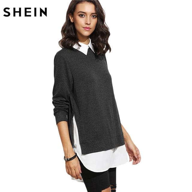 wholesale dealer 64bc3 c5bd4 US $26.11 |SHEIN Herbst Frauen Casual Pullover Damen Farbblock Revers  Langarm Kontrast Kragen Abgerundetem Saum 2 In 1 Sweatshirt in SHEIN Herbst  ...