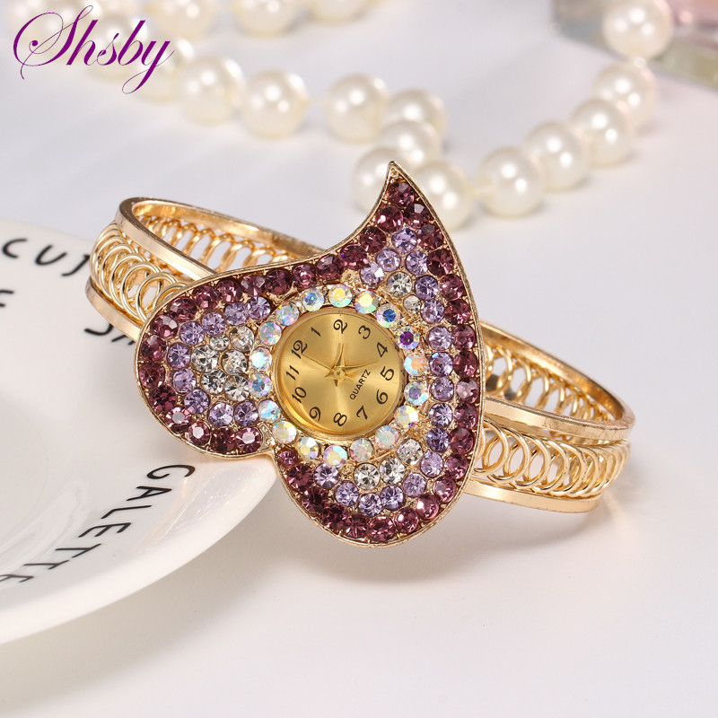 Shsby Women Jewelry Watches Casual Bracelet Watch Lady Heart Relogio Rhinestone Analog Quartz Watch Clock Female Montre Femme