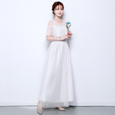Long Beautiful Short Sleeve White Bridesmaid dress prom 5 styles Wedding  party dresses size 2 to size 14 and size 16 SW0050-in Bridesmaid Dresses  from ... 67f0a983250e