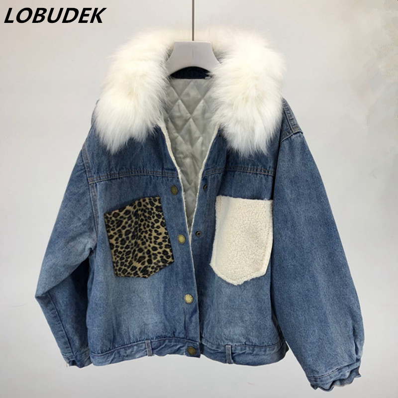 Women Winter Thick Jean   Jacket   Faux Fur Collar Short Denim Coat Loose Casual Cotton-panned Jean Outercoat Warm   Basic     Jackets
