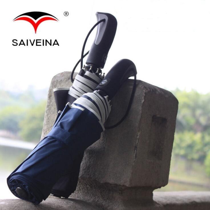 Saiveina Pongee Şemsiye Yağmur Kadınlar Otomatik Şemsiye Erkekler - Ev Eşyaları
