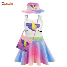 Girls Rainbow Unicorn Ballet Dress+ Bag+Hat Kids Birthday Wedding Party Ruffles Sleeveless Princess Girl Fancy Dress 6T