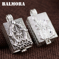 BALMORA 1 Piece 100 Real 925 Sterling Silver Vintage Fish Lotus Flower Pendants For Women Gift