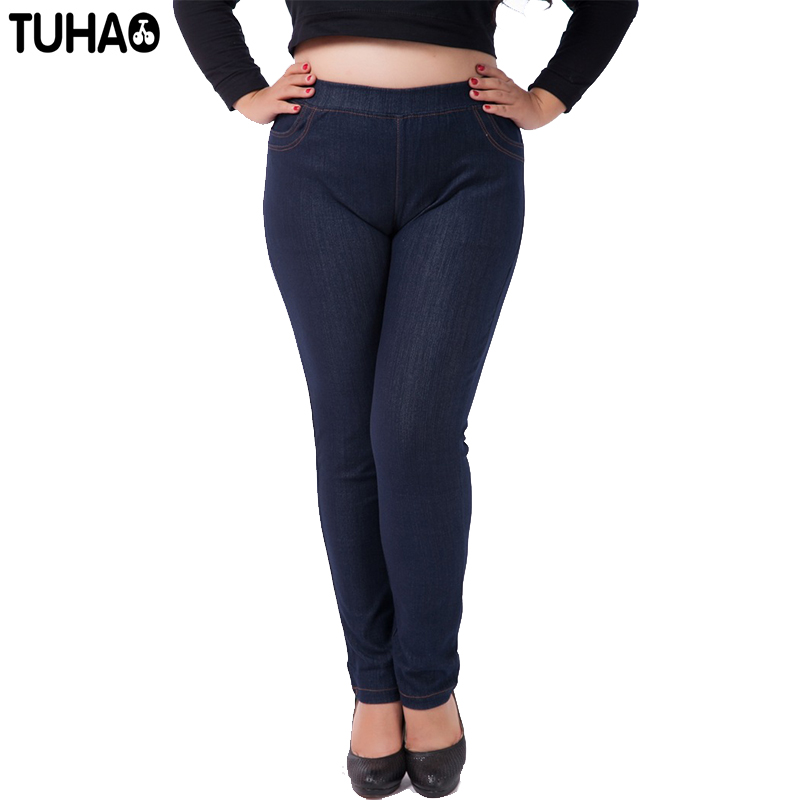 1d11b86d31a72 TUHAO 2018 spring summer office lady Jeans trousers for women Denim Pants  Large Size 3XL 7XL pants High Waist Femme Jeans YH04