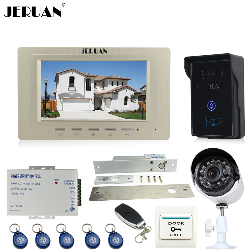 JERUAN 7`` Video DoorPhone intercom System kit waterproof touch Password keyboard Access Camera + 700TVL Analog Camera In stock
