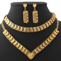 Jewelry Set For Woman Fashion Vintage Bow Knot Hollow Out Shape Necklace 18K Real Gold Plated