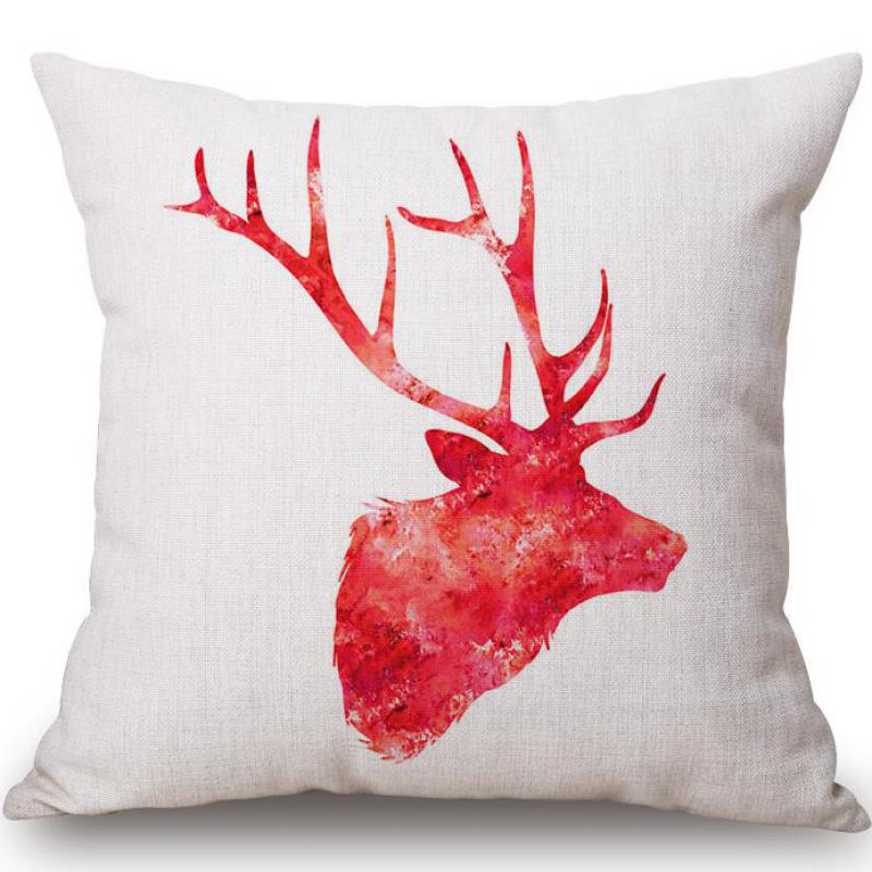 Factory Direct Modern Minimalist Watercolor Deer Linen Square Decorative Waist Cushion Home Office Chair Back Pillow