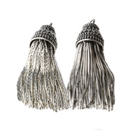 Solid 925 Sterling Silver Tassel Pendant Charms for Beaded Necklace Jewelry ,1pc