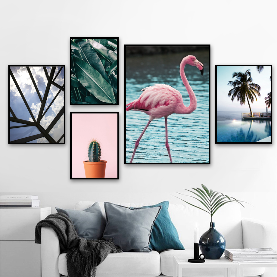 Flamingo Cactus Banana leaf Wall Art Canvas Painting Nordic Posters And Prints Pictures For Living Room Scandinavian Decor