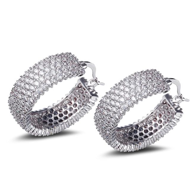 Fantastic Wide hoop earrings for night party White color sex design Cubic Zirconia stones Circle Hoop Earring bijoux Jewelry
