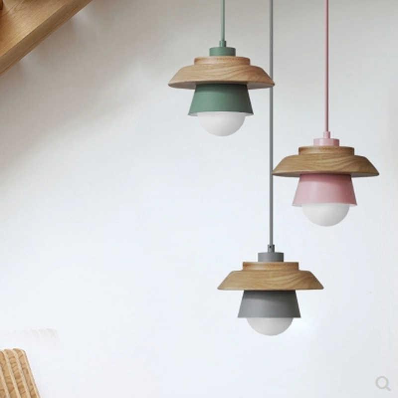 Lámpara nórdica minimalista para restaurante de madera sólida, lámpara colgante única, mesa de comedor creativa, color de macarrón, lámpara mate de hierro E27