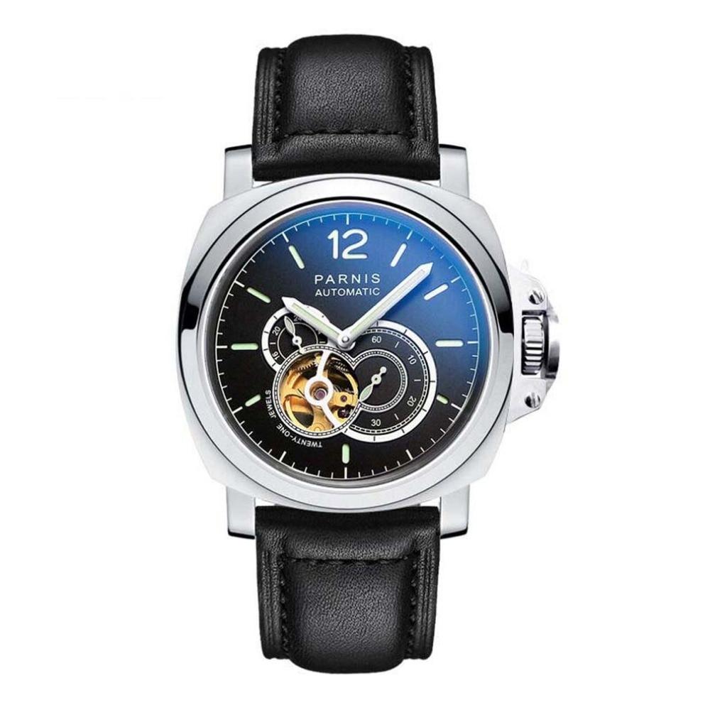 Parnis Commander Plus Seriers Luminous Mens Leather Watchband  Fashion Automatic Mechanical Watch Wristwatch parnis pilot iiv seriers luminous mens silicone leather watchband army sport chronograph quartz watch wristwatch