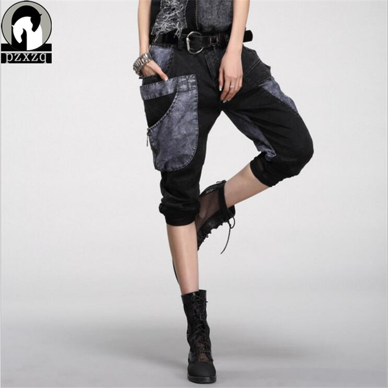 2019 New Hip Hop Pants Women Station Personality Thin Cowboy Haren Pants Female Big Pocket Pants & Capris ქალთა საზაფხულო შარვალი