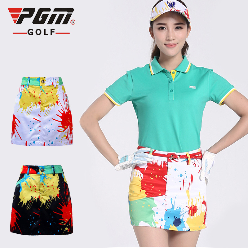 PGM Golf Sportswear Golf Skirt For Women Summer Camouflage Print Elasticity Breathable Anti-emptied Ladies Golf Sports Skorts