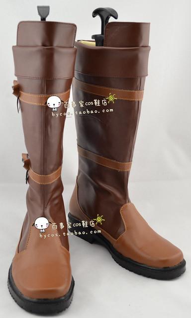 Anime The Legend of Zelda Enlace Cosplay Marrón Zapatos Boots Por Encargo de Lujo Del Partido de Halloween
