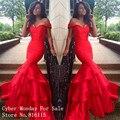 Preciosa sirena de cola de pescado v-cuello mujeres vestidos formales 2016 piso longitud de raso largo vestido de noche rojo Robe de soirée vestidos