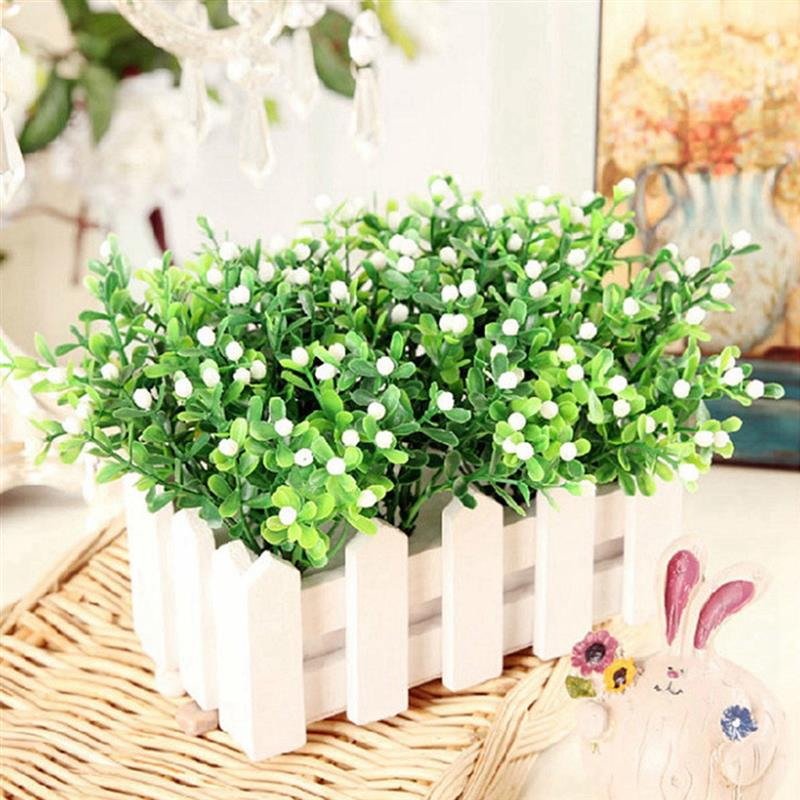 1pcs Fake Flowers Plastic Simulation Artificial Milan Grain Grass Green Plant Grain For Home Wedding Party Table Display Decor