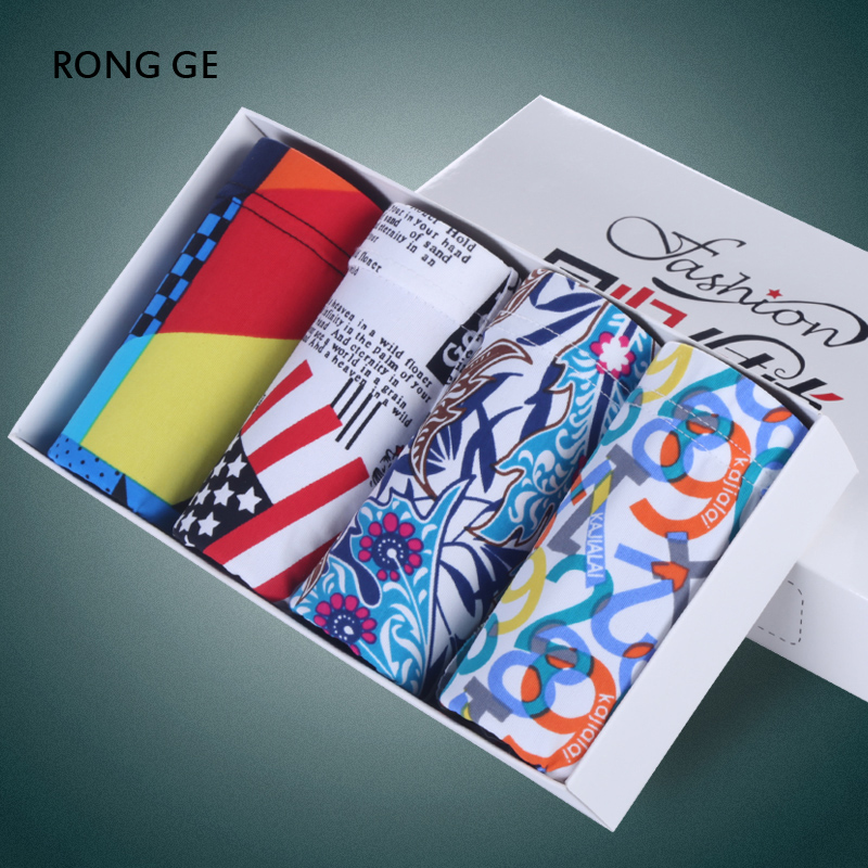 rongge mens underwear boxer male 4 pieces/lot cotton printing Soft Breathable mens underwears L XL XXL XXXL no gift box k01-05