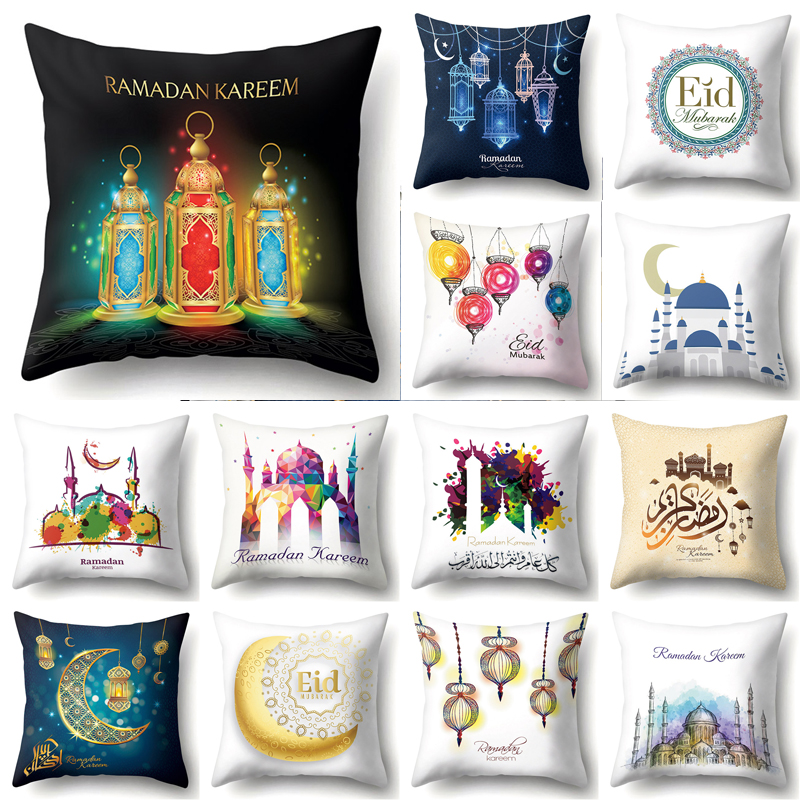 Ramadan Decoration Eid Mubarak Moon Mosque Polyester Cushion Cover Decorative Cushions Pillow For Sofa Living Room Cushion 40832