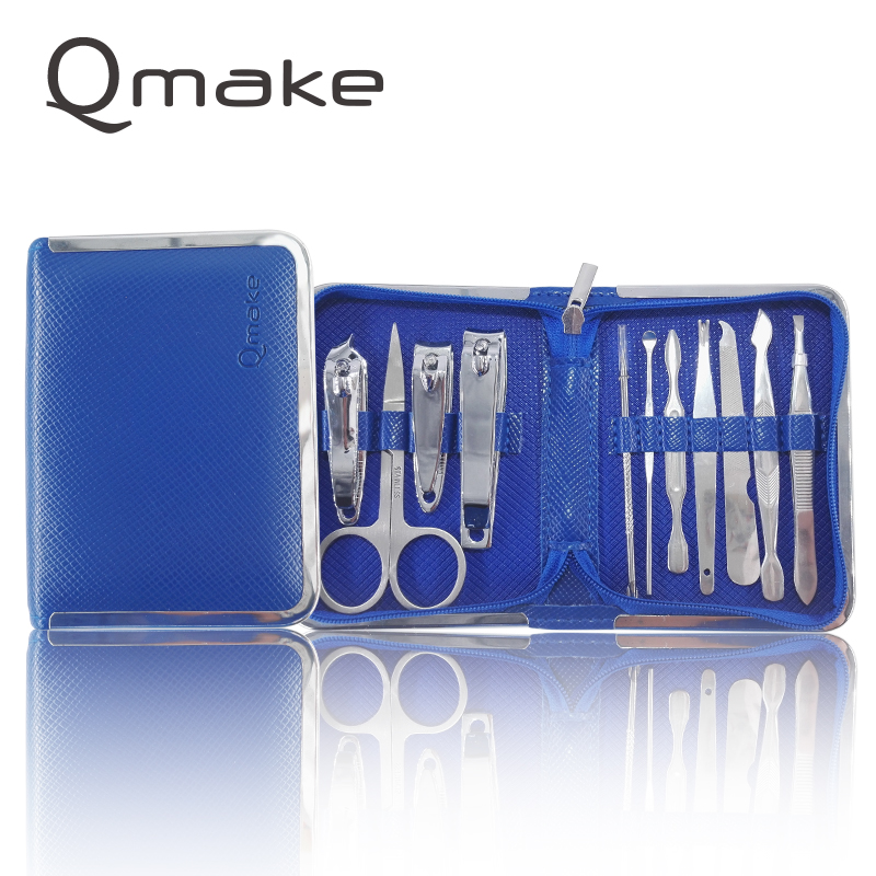 11 PCS/SET Manicure Tool Profeesional Portable Pedicure Sets With Zip Case Steel Nail Clipper Polished File Kit For Unisex