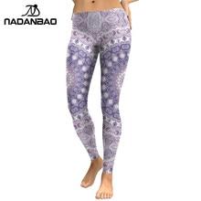 NADANBAO New Arrival Leggings Women Purple Mandala Flower 3D Printed Leggins Woman Cool Fashion Slim Elastic Trousers Pants Legg