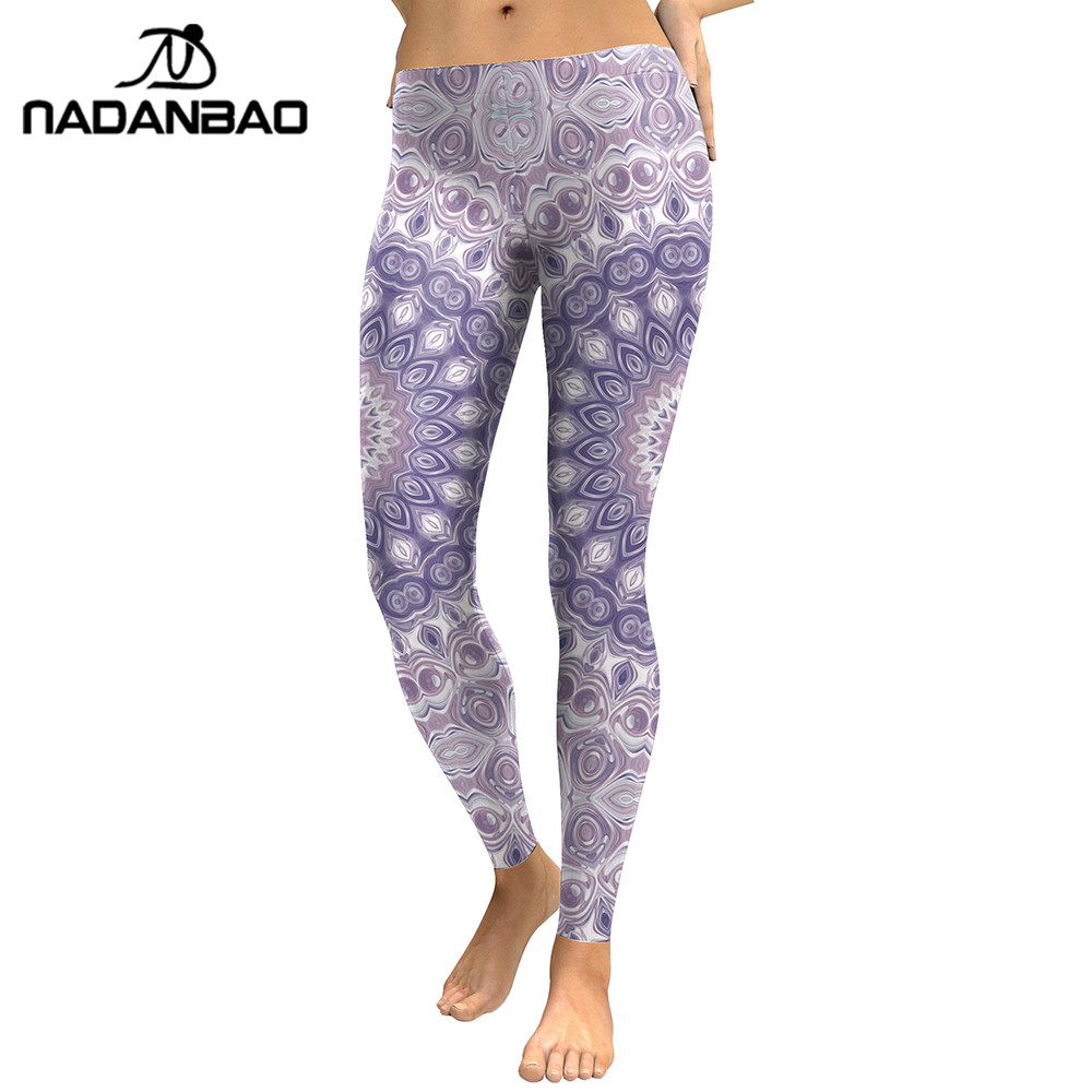 NADANBAO New Arrival Leggings Women Purple Mandala Flower Digital Printed Leggins Woman Slim Elastic Workout Plus Size Legging
