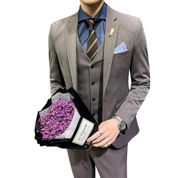 2019 Fashion Gentleman Comfortable Men's Business Blazers Suits Set Three-piece Professional Suits Groom Wedding Suits For Men