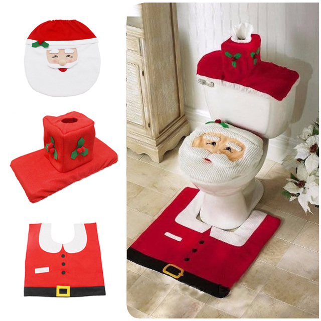 3 Pieces Set Christmas Happy Santa Toilet Seat Cover And Rug Bathroom For Decorations