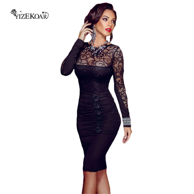 Hot Sale 2018 Womens Elegant Backless Dresses Floral Applique Black ...