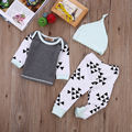 Infant Baby Girls Boys Kids Clothes Long sleeve T-Shirt Tops+Pants Hat 3pcs Outfits Set Gray color