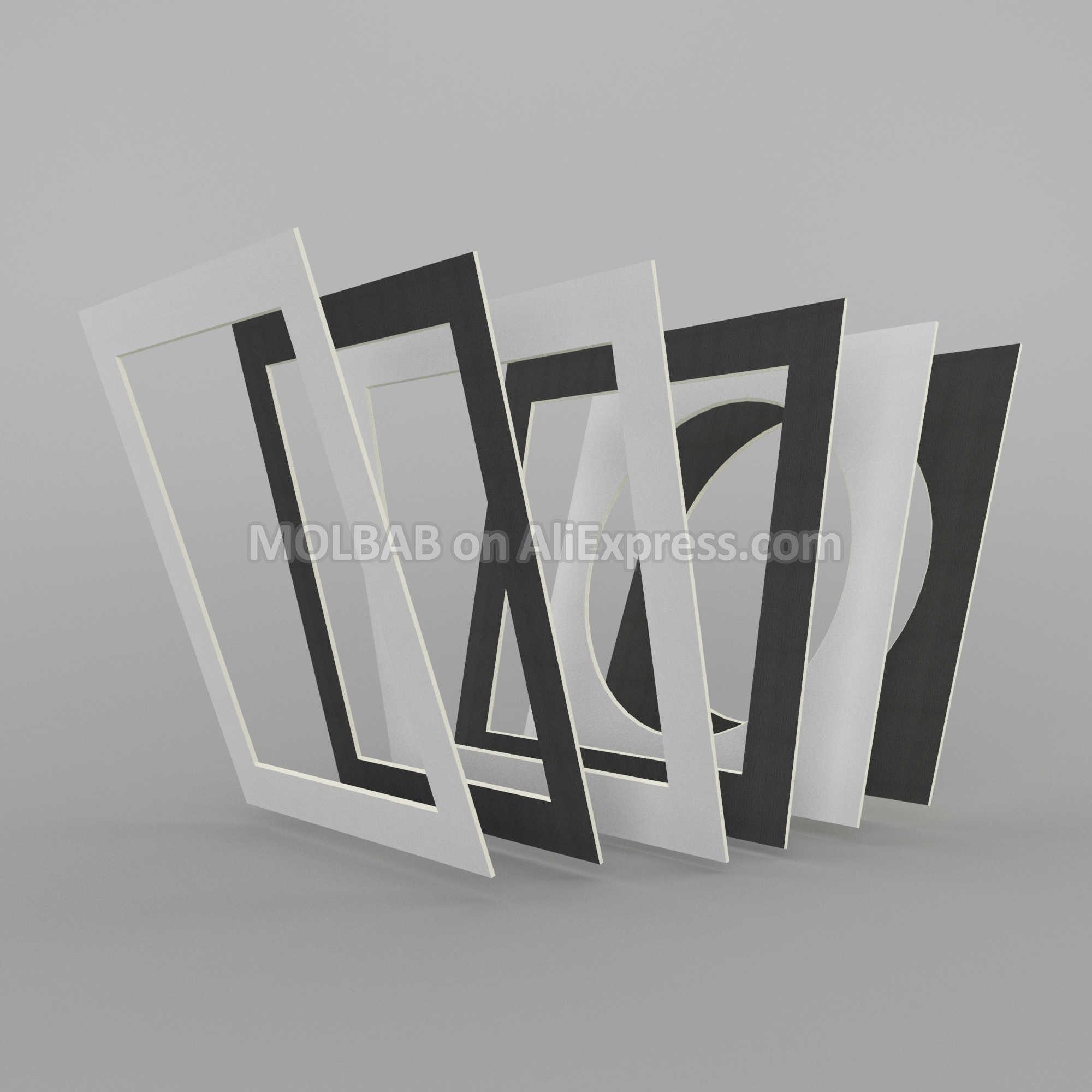 CUSTOM Made ภาพเสื่อกระดาษ Passe-Partouts สี่เหลี่ยมผืนผ้ารูปไข่สแควร์ Multie-ช่องเปิดกระดาษที่กำหนดเองติดตั้ง Matboard กรอบตกแต่ง