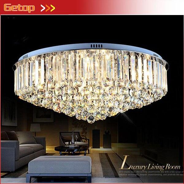Smart Modern Round K9 Crystal Ceiling Lamp Led Lighting Lamps Living Room Restaurant Crystal Lights E14 Led Free Shipping Ceiling Lights & Fans Ceiling Lights