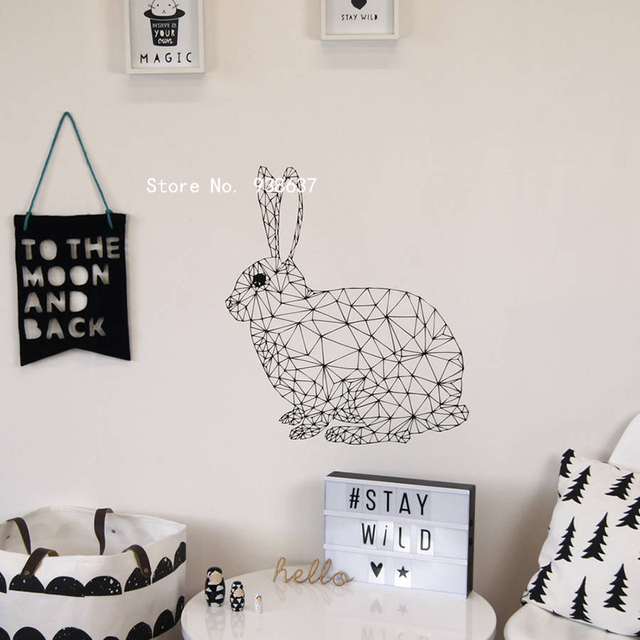 Geometric Rabbit Wall Decals Bedroom Living Room Removable Art Home  Decoration Animal Vinyl Wall Stickers Monochrome
