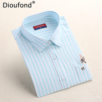 Dioufond Striped Cat Embroidery Blouse Shirt Women Long Sleeve Tops 2017 Casual Pocket Button Down Blouses Embroidered Plus Size
