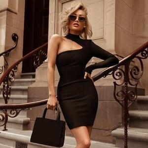 Image 2 - ADYCE 2019 Neue Sommer Frauen Eine Schulter Verband Kleid Berühmtheit Abend Party Kleid Sexy Grün Schwarz Bodycon Club Kleid Vestido