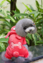 FA20 dog warm Coral fleece coat for 4 legs –Bear shape /w bone design pet clothing pet dog winter warm clothes