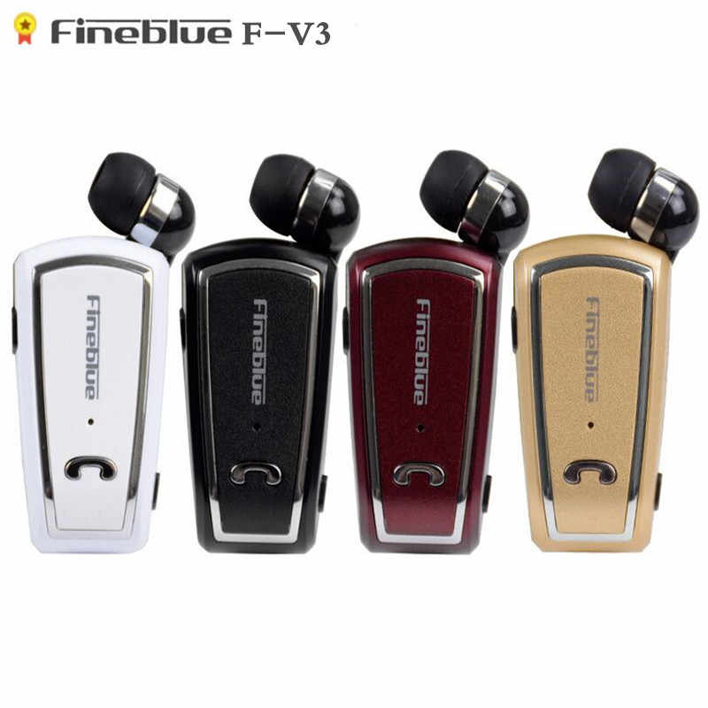 Fineblue F-V3 Mini Retractable Stereo Bluetooth Headset Draadloze Clip Hoofdtelefoon Voor Ios Android Bluetooth 4.0