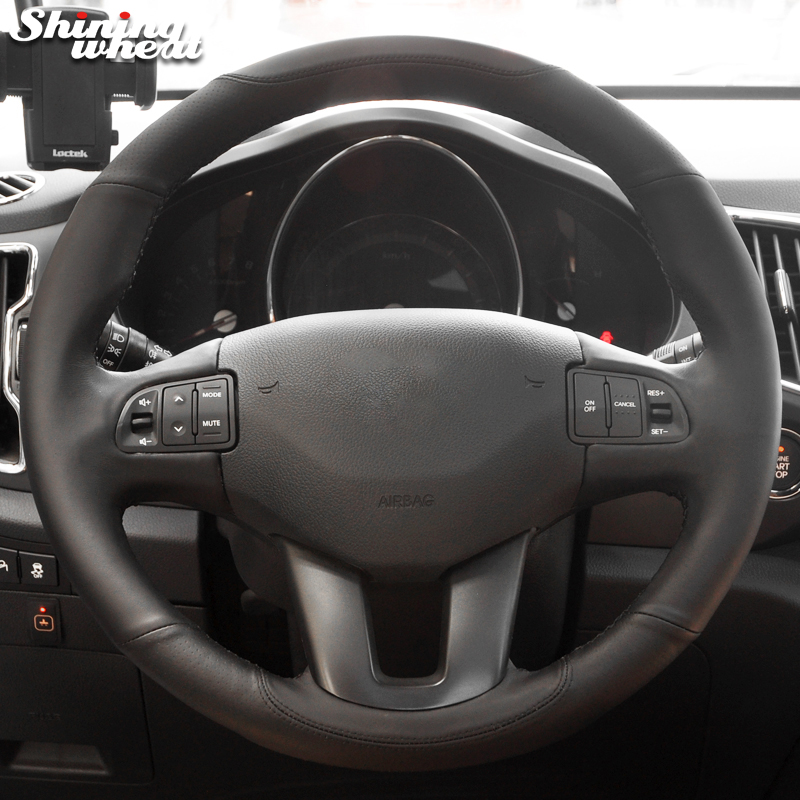 Shining wheat Black Genuine Leather Black Thread Steering Wheel Cover for Kia Sportage Sportage 3 2011-2014 Kia Ceed 2010 shining wheat black genuine leather car steering wheel cover for fiat bravo 2007 2011