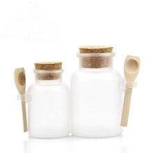 200G/100G Plastic Cosmetische Lege Matte Kurk Pot Badzout Fles Vrouwen Masker Facial Container Hervulbare Fles met Houten Lepel
