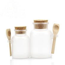 200g/100g Plastic Cosmetic Empty Matte Cork Jar Bath Salt Bottle Women Mask Facial Container Refillable Bottle With Wood Spoon