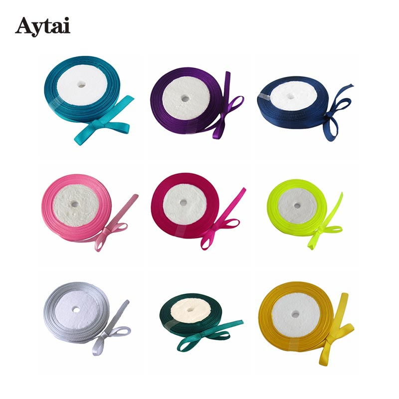 Aytai 1 piece 25yard Satin Ribbons for Crafts Decoration Apparel Sewing Fabric 6mm Width