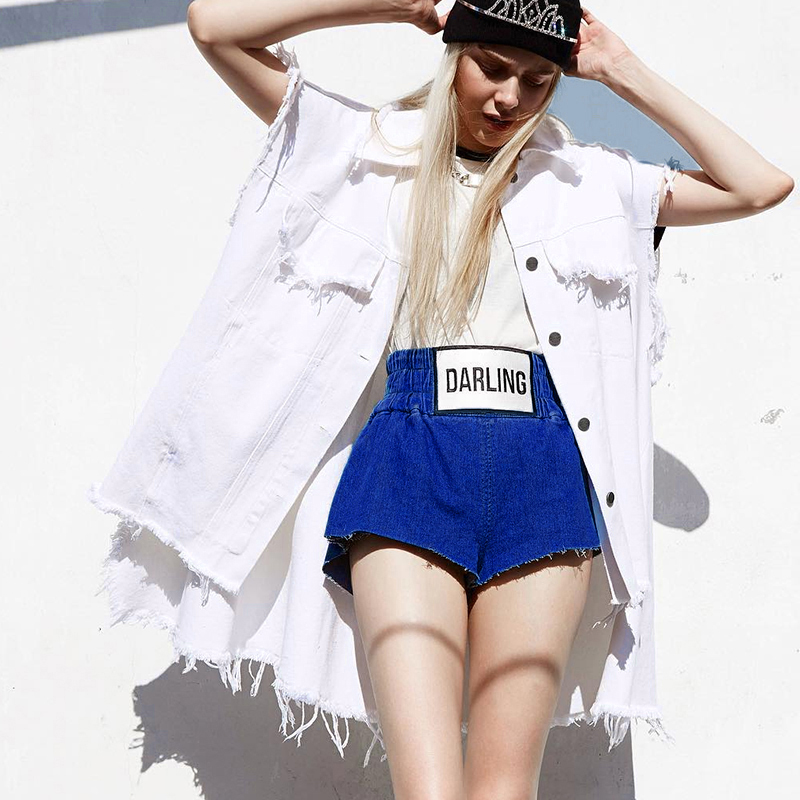 Summer Wind Female Blue High Waist Denim Shorts Women Worn Loose Jeans Shorts Sexy Solid Street Hip Hop Stretchy Shorts