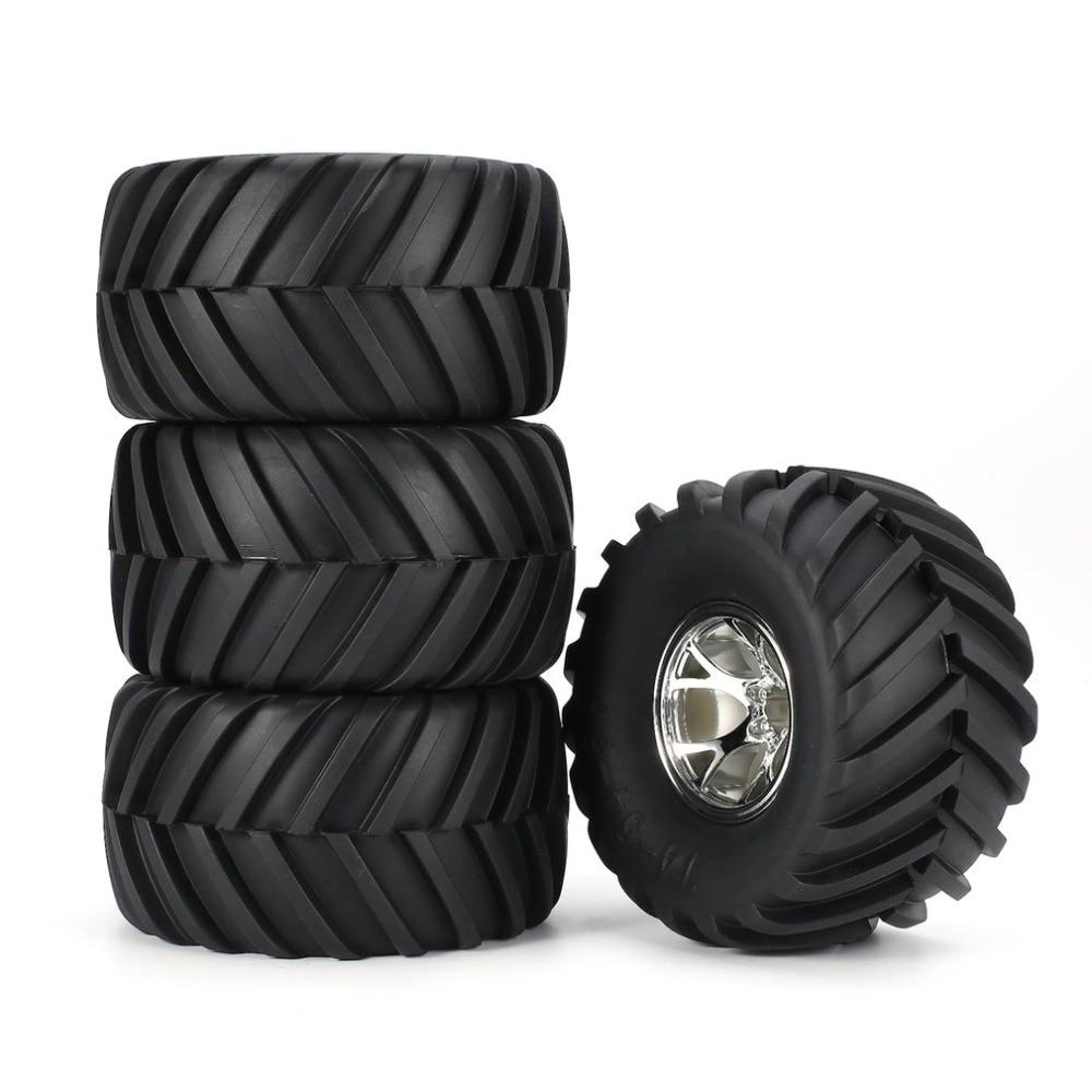 AUSTAR 4pcs AX-3003 130mm Rim Rubber Tyre Tire Wheel Plastic Hub for 1/10 RC Big Feet Model HSP HPI Beadlock Spare Parts fz(China)