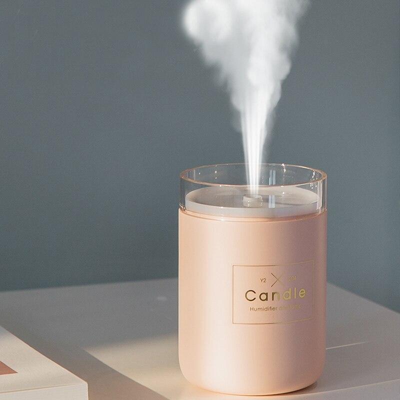 280 ml humidificador de aire ultrasónico vela romántica suave luz USB difusor de aceite esencial purificador de coche Aroma anión máquina de niebla