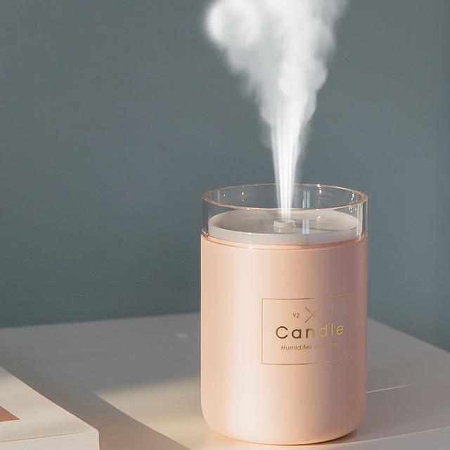 280ML Ultrasonic Air Humidifier Candle Romantic Soft Light USB Essential Oil Diffuser Car Purifier Aroma Anion Mist Maker