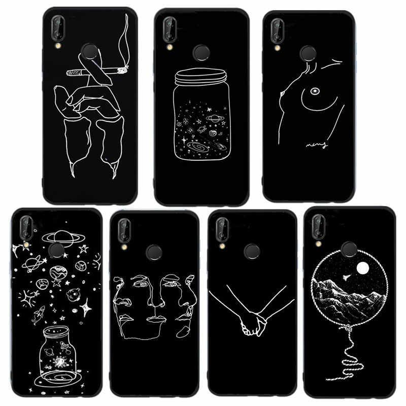 buy popular 35ec6 aa457 Fashion Black Fundas For Huawei P20 Lite Case White Lines Phone Cover For  Huawei Mate 10 Lite P Smart P20 P10 P9 P8 Lite Coque