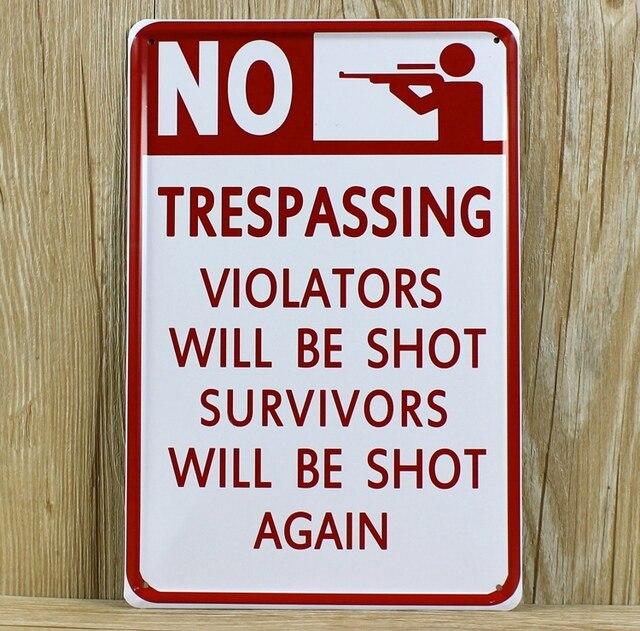 letters slogan no trespassing ro 0284 vintage metal tin signs