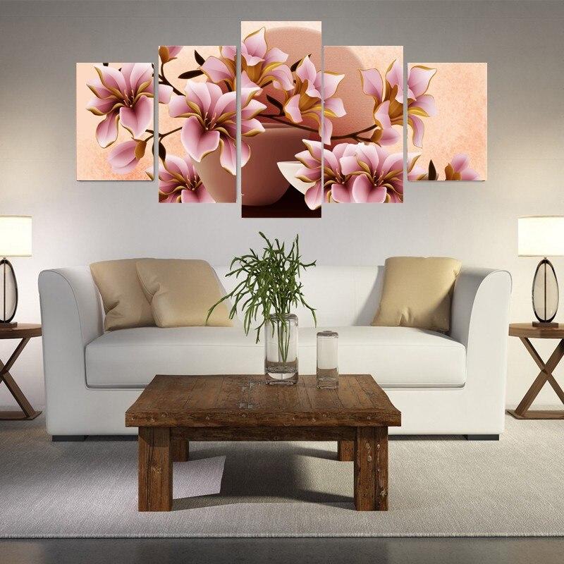 Bloemen canvas schilderijen koop goedkope bloemen canvas schilderijen loten van chinese bloemen - Modulaire muur ...