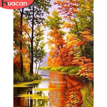 HUACAN 5D Diamond Painting Full Round Mosaic Landscape Embroidery Sale Autumn Scenery